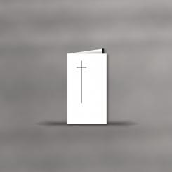 Trauerkarten, hochdoppelt, Motiv mit Kreuz